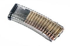PUF GUN MAGAZINE TRANSPARENT FOR AK/SAIGA cal 223REM 30 RND